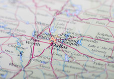 Mapa de Dallas Fotografia de Stock Royalty Free