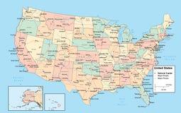 Mapa de Detiled EUA Imagem de Stock Royalty Free