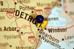 Mapa de Detroit Michigan Foto de Stock Royalty Free