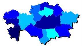 Mapa de Digitaces de Kazajistán en sombras del azul Fotografía de archivo
