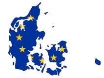 Mapa de Dinamarca Fotos de Stock Royalty Free