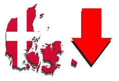 Mapa de Dinamarca en el fondo blanco con la flecha roja abajo Imágenes de archivo libres de regalías