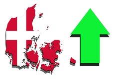 Mapa de Dinamarca en el fondo blanco con la flecha verde para arriba Imagen de archivo