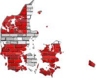 Mapa de Dinamarca en una pared de ladrillo Fotos de archivo