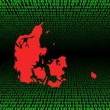 Mapa de Dinamarca no código binário Fotografia de Stock
