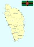 Mapa de Dominica Fotos de archivo libres de regalías