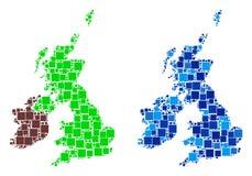Mapa de Dot Great Britain And Ireland con variante azul stock de ilustración