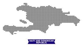 Mapa de Dot Haiti And Dominican Republic ilustração do vetor