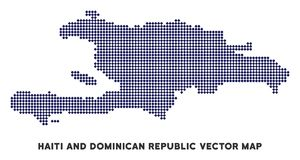 Mapa de Dot Haiti And Dominican Republic ilustração stock