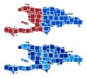 Mapa de Dot Haiti And Dominican Republic com versão azul ilustração do vetor