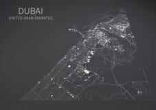Mapa de Dubai, visión por satélite, mapa en la negativa, United Arab Emirates Imagen de archivo libre de regalías