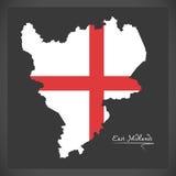 Mapa de east midlands con la bandera del ejemplo de Inglaterra ilustración del vector