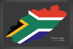 Mapa de Eastern Cape Suráfrica con la bandera nacional ilustración del vector