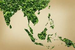 Mapa de Eco Ásia no papel Imagens de Stock