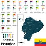 Mapa de Ecuador con las banderas Fotos de archivo libres de regalías