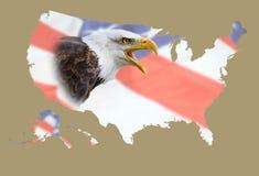 Mapa de EEUU, águila, bandera Fotos de archivo