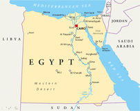 Mapa de Egito ilustração do vetor