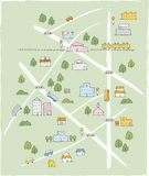 Mapa de esboço bonito tirado mão na cor Fotos de Stock