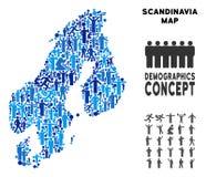 Mapa de Escandinavia del Demographics stock de ilustración