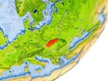 Mapa de Eslováquia na terra Fotografia de Stock