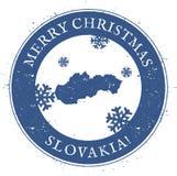 Mapa de Eslovaquia Feliz Navidad Eslovaquia del vintage ilustración del vector