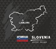 Mapa de Eslovenia, dibujo del vector en la pizarra Fotografía de archivo