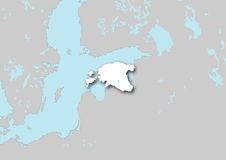 Mapa de Estónia Fotografia de Stock Royalty Free