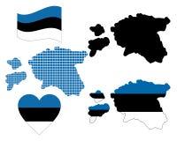 Mapa de Estónia Imagem de Stock Royalty Free