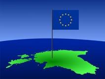 Mapa de Estónia com bandeira Fotografia de Stock Royalty Free