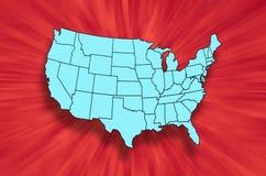 Mapa de estados do continente dos E.U. Foto de Stock