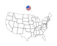 Mapa de Estados Unidos da América Vetor dos EUA preto ilustração do vetor