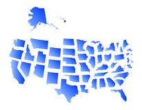 Mapa de Estados Unidos dos estados Imagem de Stock Royalty Free