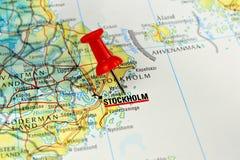 Mapa de Estocolmo con el perno Imagen de archivo