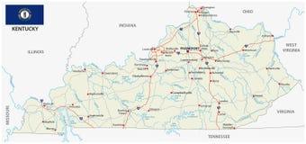 Mapa de estradas com a bandeira de kentucky Foto de Stock Royalty Free