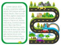 Mapa de estradas com os carros na estrada Foto de Stock