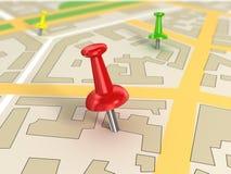 Mapa de estradas com Pin Pointers Fotografia de Stock