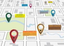 Mapa de estradas da rua, infographics do negócio com o ponteiro colorido do pino ilustração stock