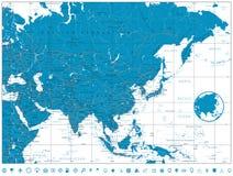 Mapa de estradas de Ásia Fotografia de Stock Royalty Free