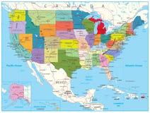 Mapa de estradas político dos EUA Fotografia de Stock