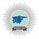 Mapa de Eurasia com a explosão da estrela do estilo do vintage, azul Foto de Stock
