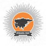 Mapa de Eurasia com a explosão da estrela do estilo do vintage, retro Imagens de Stock Royalty Free