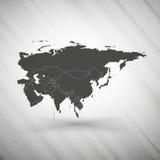 Mapa de Eurasia no fundo cinzento, textura do grunge Foto de Stock
