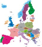 Mapa de Europa Fotos de Stock Royalty Free