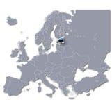 Mapa de Europa com Estônia Foto de Stock Royalty Free