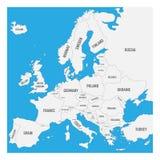 Mapa de Europa com nomes de países soberanos, ministates incluídos Mapa preto simplificado do vetor no fundo branco ilustração stock