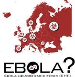 Mapa de Europa con el texto del ebola y el símbolo del biohazard Imagen de archivo