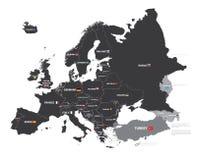 Mapa de Europa con nombres y banderas de país Imágenes de archivo libres de regalías