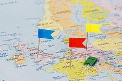 Mapa de Europa e de caixas de seleção Fotos de Stock