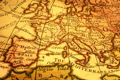 Mapa de Europa e mediterrâneo velhos