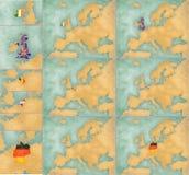 Mapa de Europa - el estilo del verano fijó 2 Foto de archivo